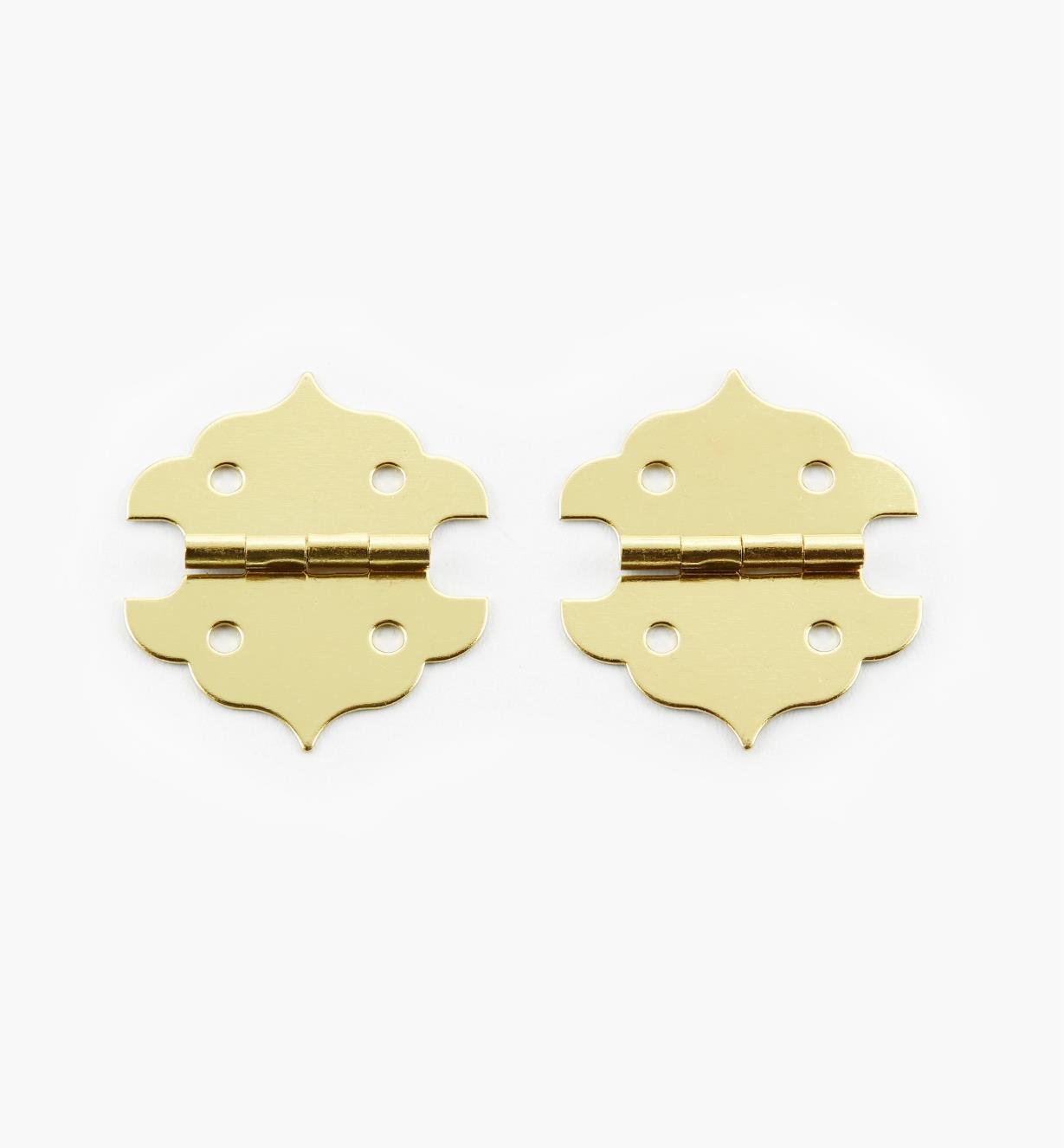 00D8040 - Wide Brass Hinges, pr.