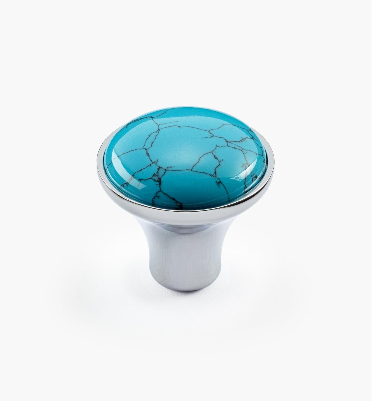 01A3622 - Grand bouton gemme turquoise, fini chrome poli, 28 mm