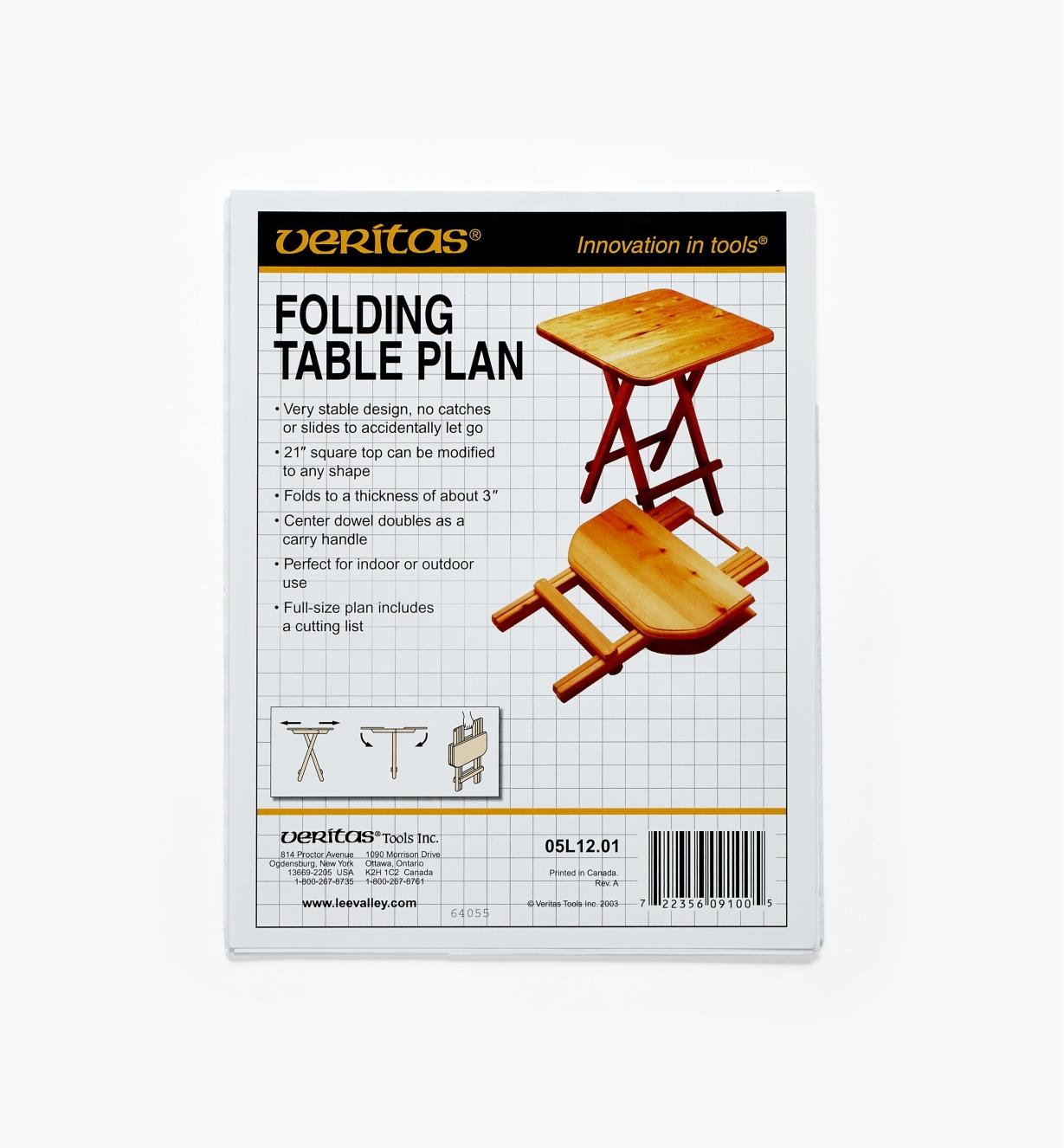 05L1201 - Folding Table Plan