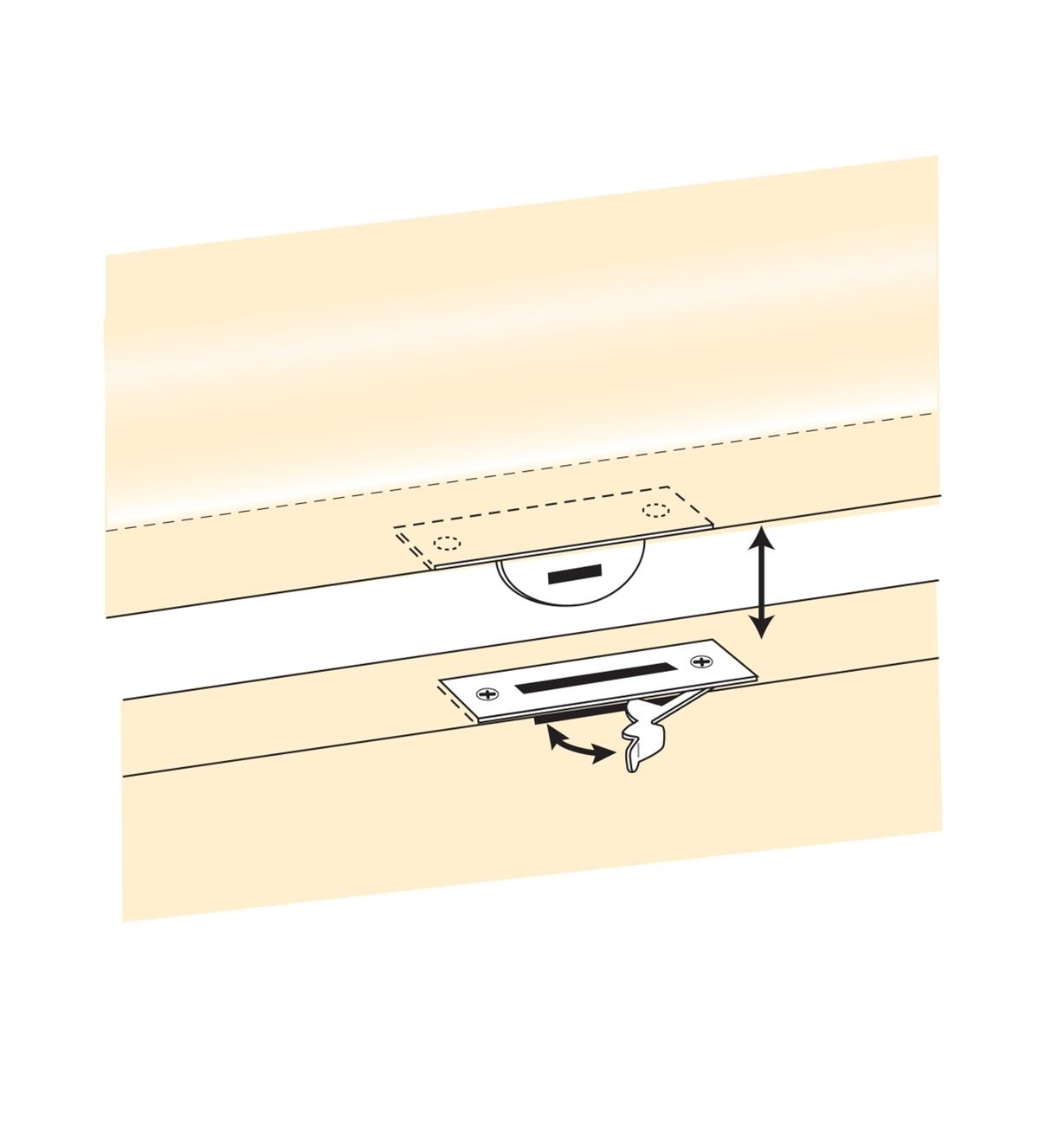 Illustration of lid latch in use on a casket