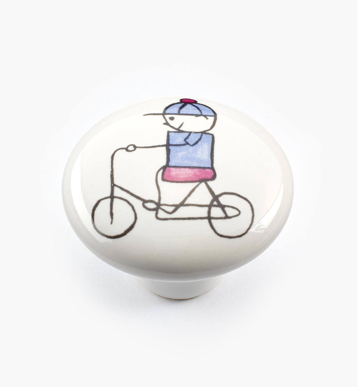 00W5311 - Bouton pour tout-petits, bicyclette, 11/2po