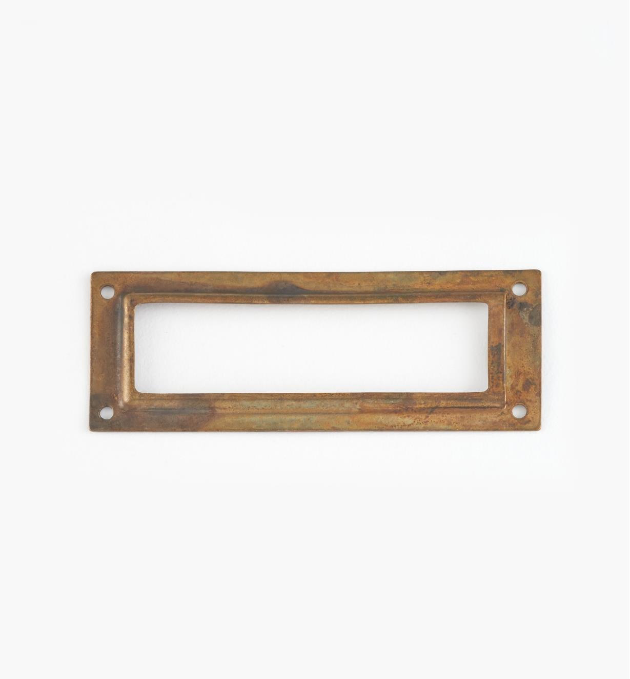 01A5790 - Porte-étiquette en laiton estampé, laiton ancien, 80 mm x 29 mm