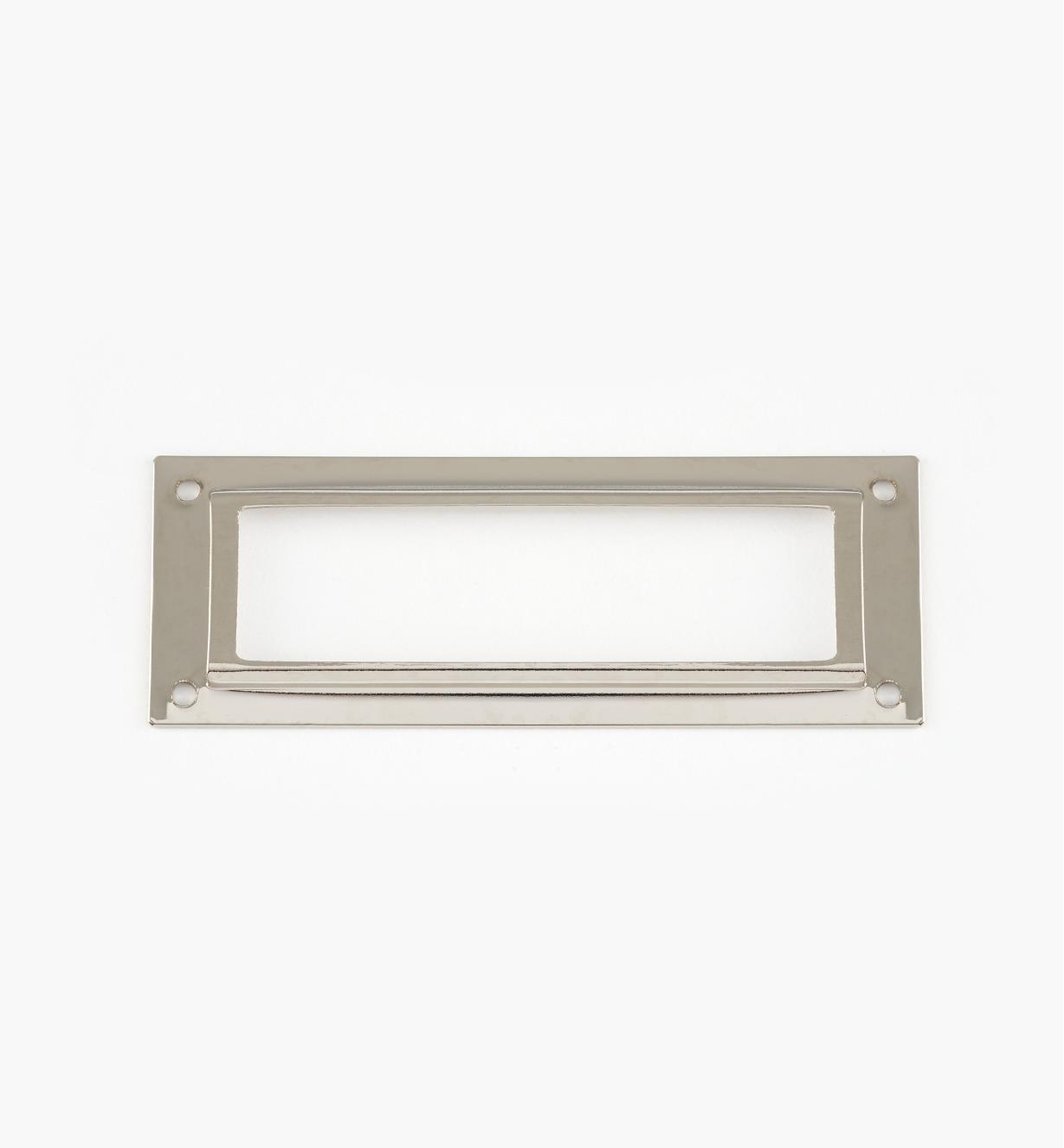01A5791 - Porte-étiquette en laiton estampé, plaqué chrome, 80 mm x 29 mm