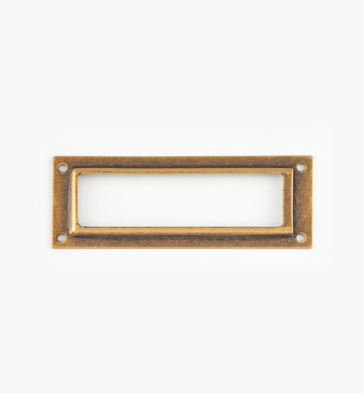 01A5792 - Porte-étiquette en laiton estampé, laiton antique, 80 mm x 29 mm