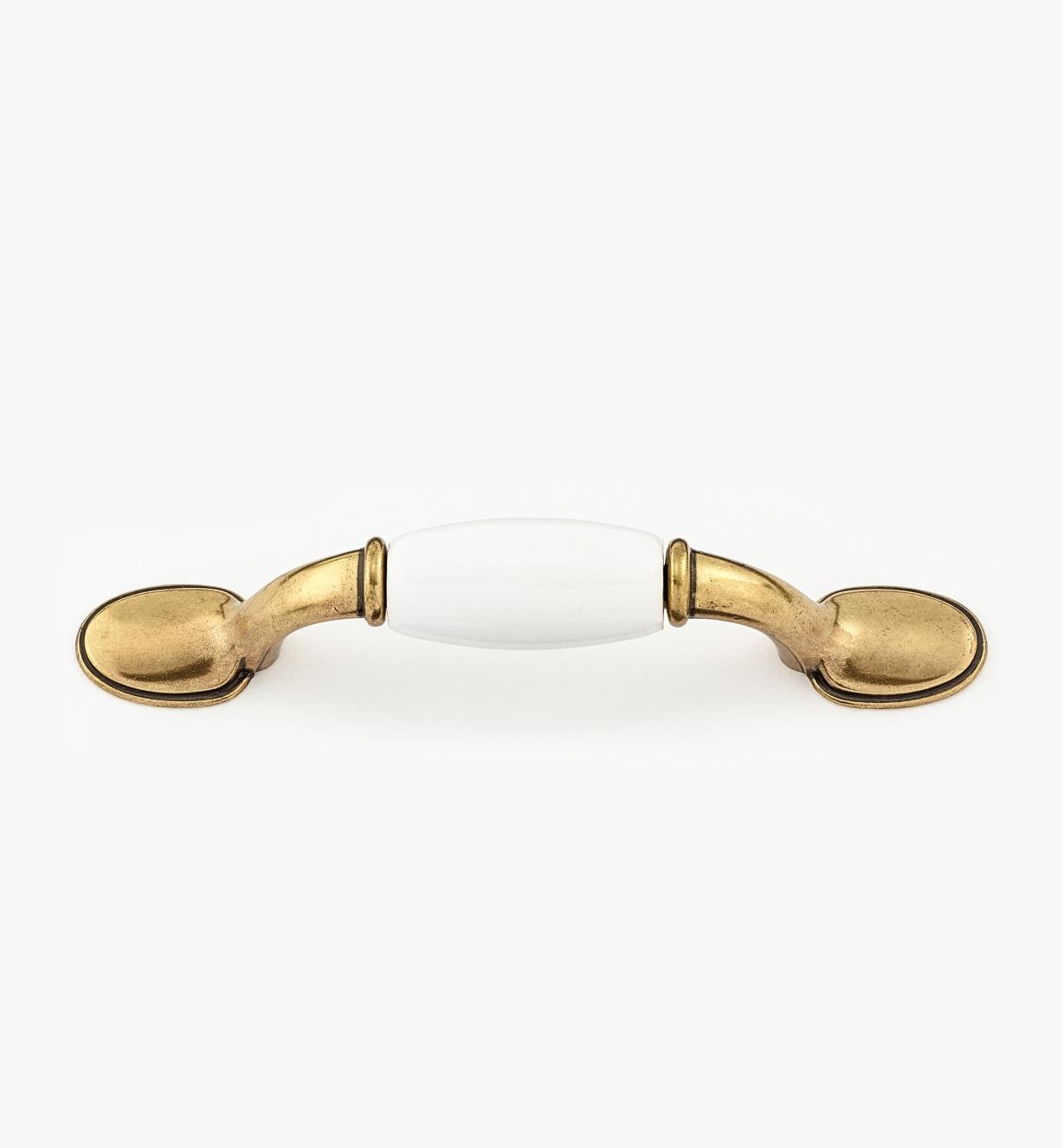 "01W8403 - 3"" Ant. Brass/White Pull"