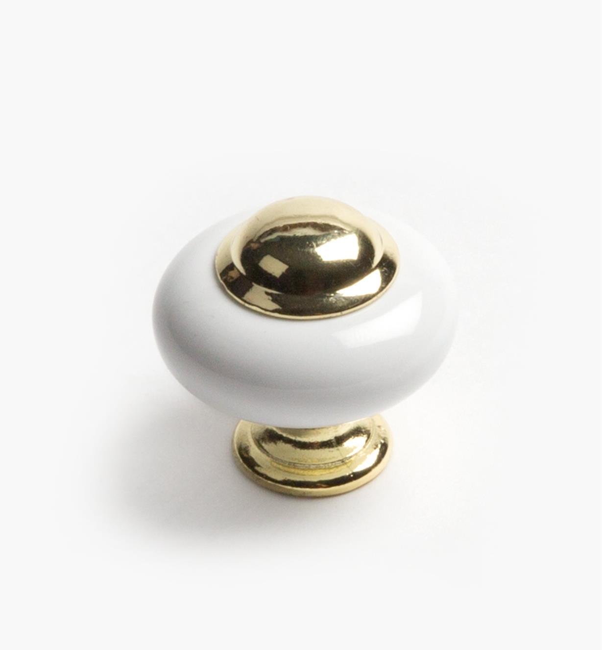 "03W1615 - 1 1/4"" × 1 1/8"" Ultra-Brass & Porcelain Knob, ea."
