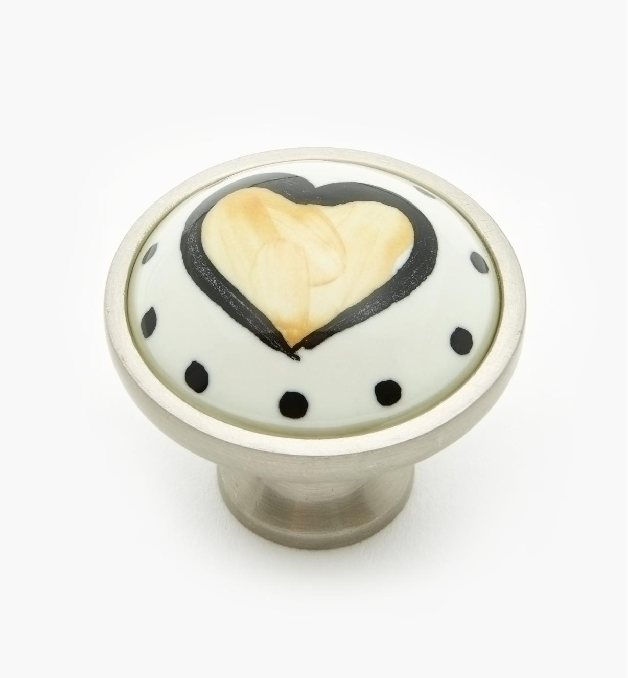 "99W9602 - 34mm (1 5/16"") Yellow Heart Knob, each"