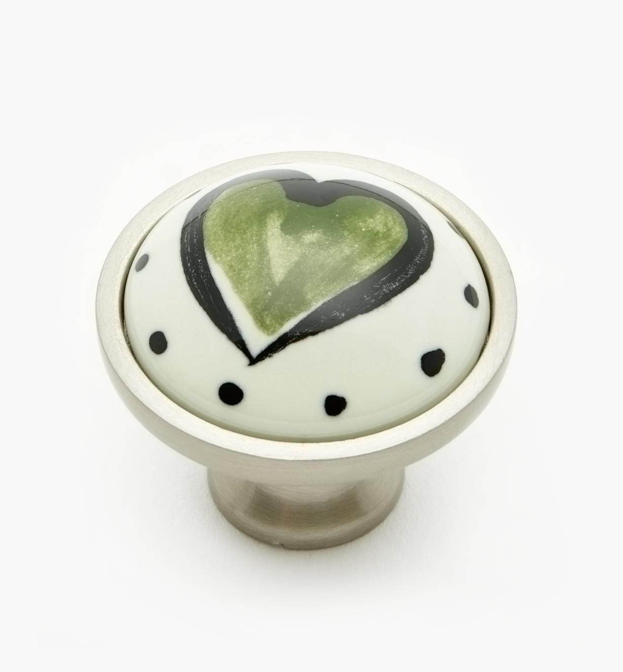 "99W9603 - 34mm (1 5/16"") Green Heart Knob, each"