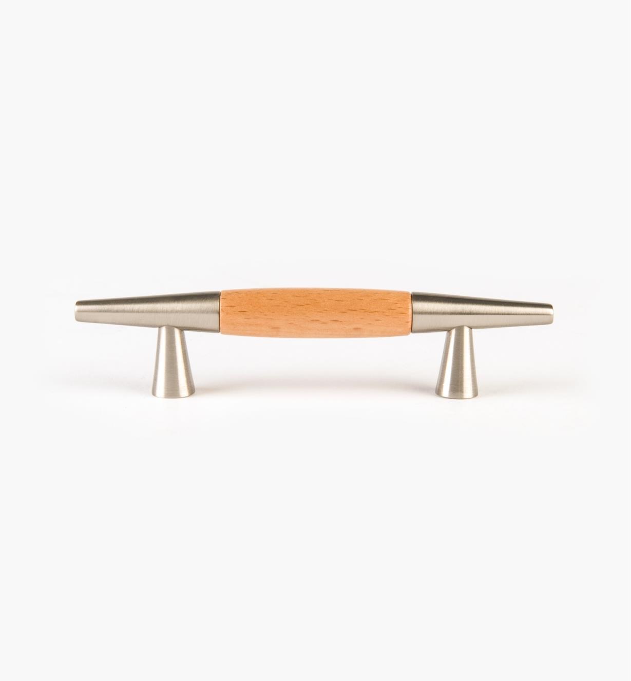 00W3310 - Poignée moderne, métal et bois, nickel brossé, 64 mm (4 3/16 po)