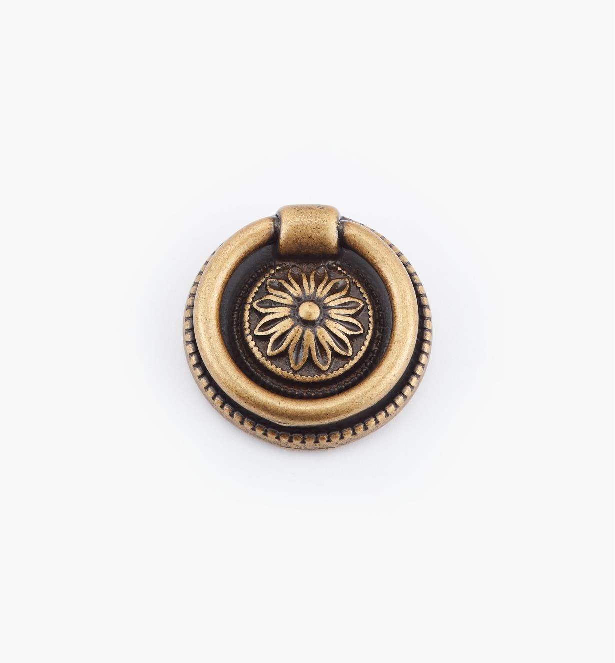 01A6432 - Poignée à anneau sur platine LouisXVI, laiton antique, 32mm
