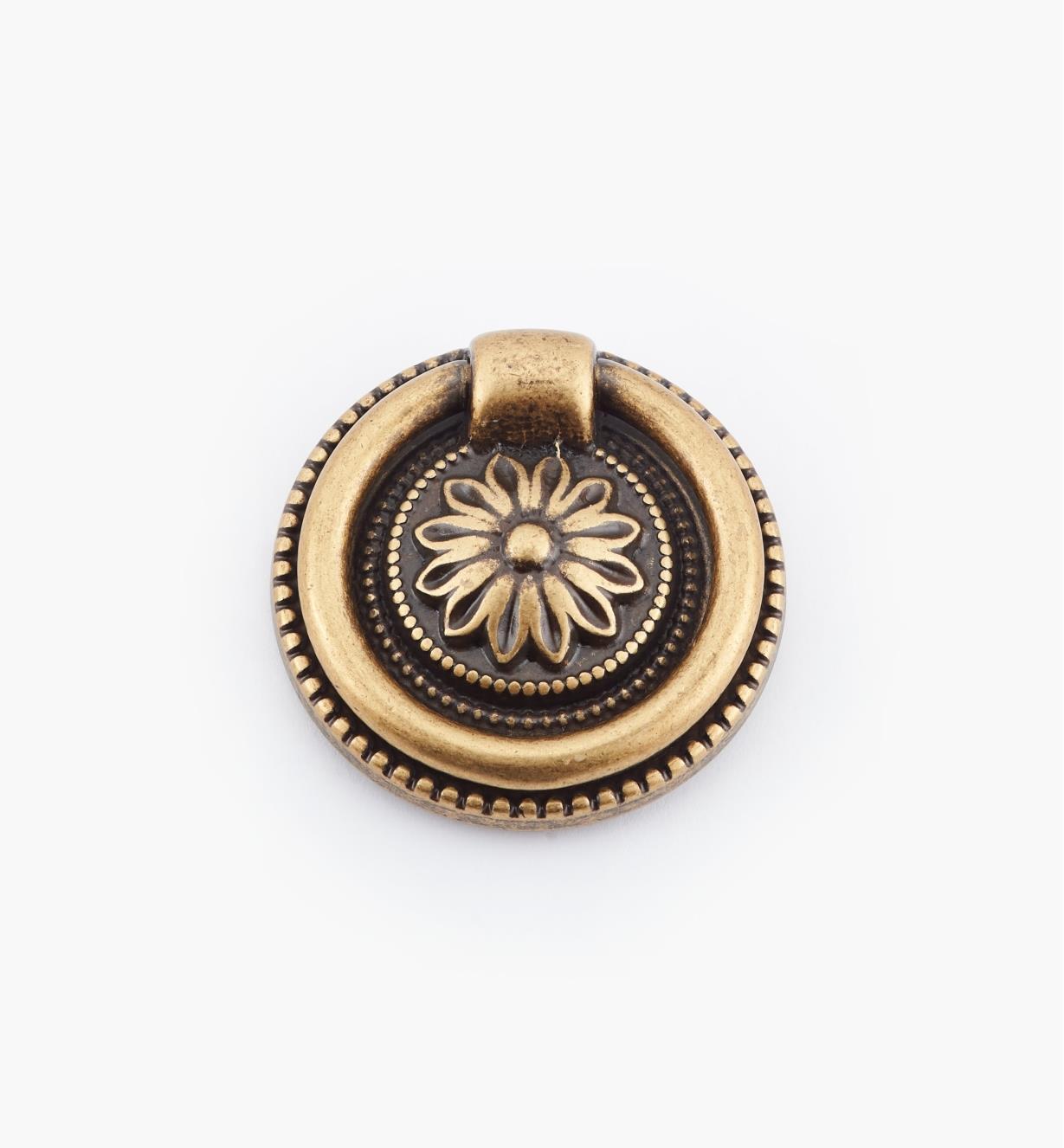 01A6437 - Poignée à anneau sur platine LouisXVI, laiton antique, 37mm