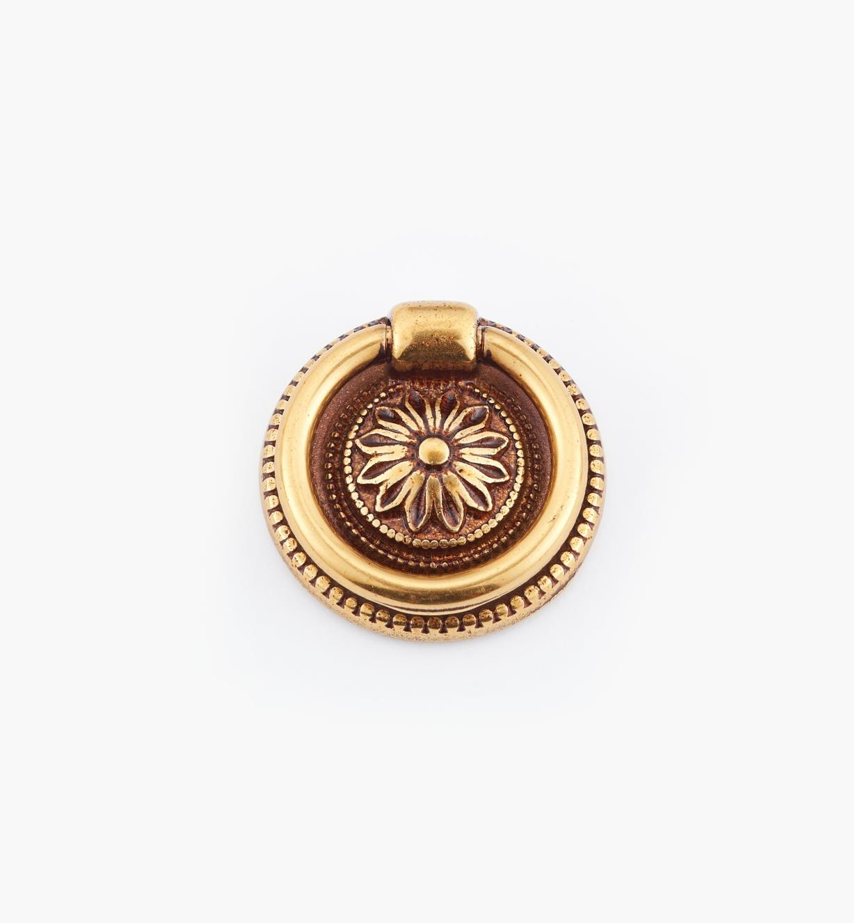 01A6460 - Poignée à anneau sur platine Louis XVI, bronze antique, 32mm