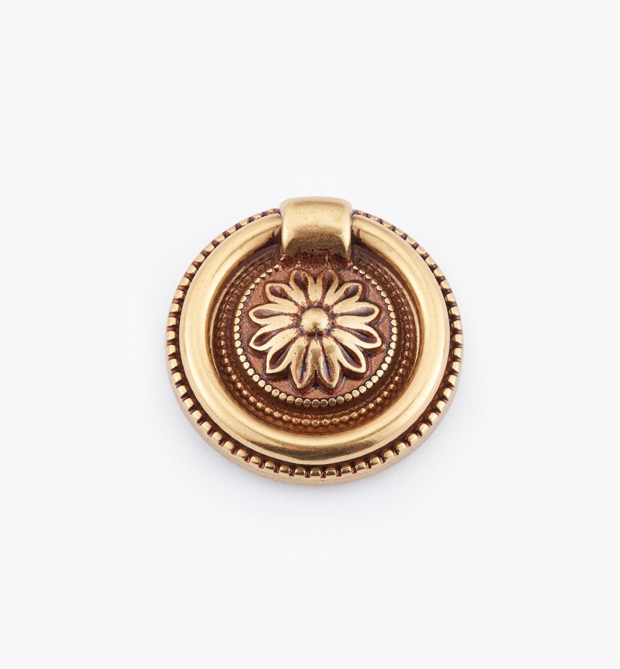 01A6461 - Poignée à anneau sur platine Louis XVI, bronze antique, 37mm