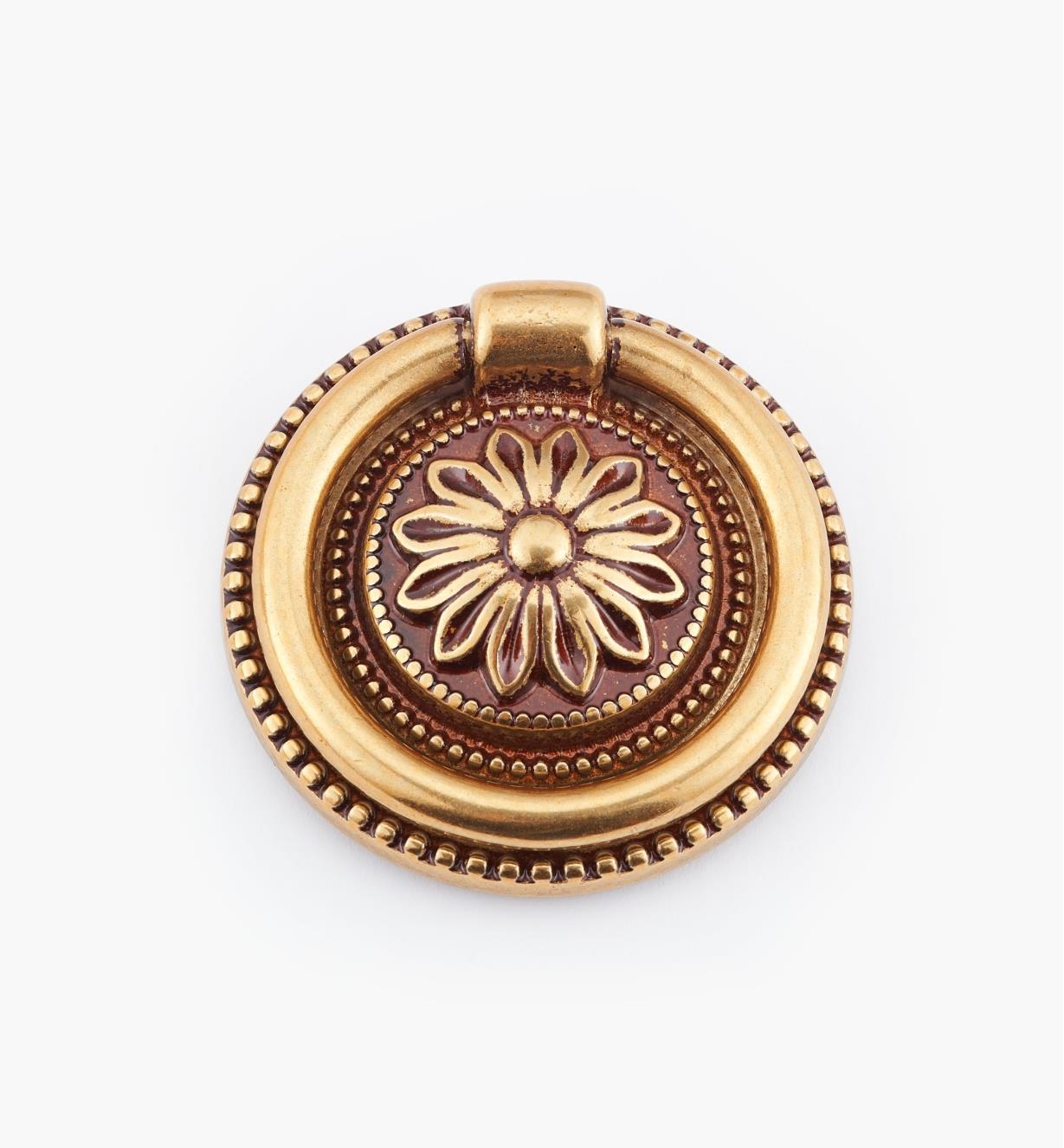 01A6462 - Poignée à anneau sur platine LouisXVI, bronze antique, 47mm