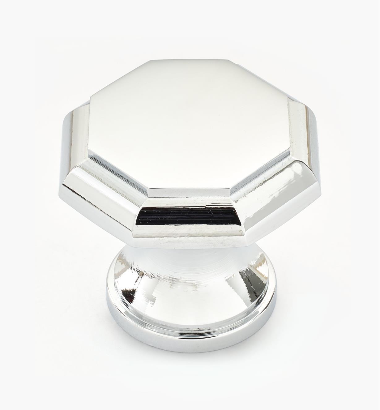 01W1201 - Bouton octogonal, chromé, 1 1/8 po x 1 po