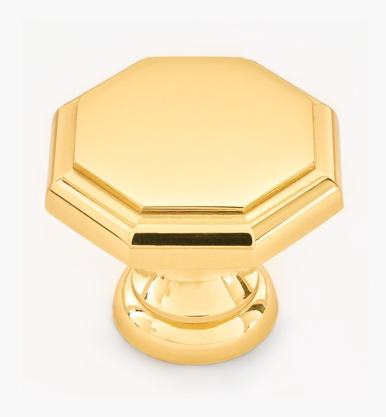"01W1432 - 1 1/4"" x 1"" Polished Brass Octagonal Knob"
