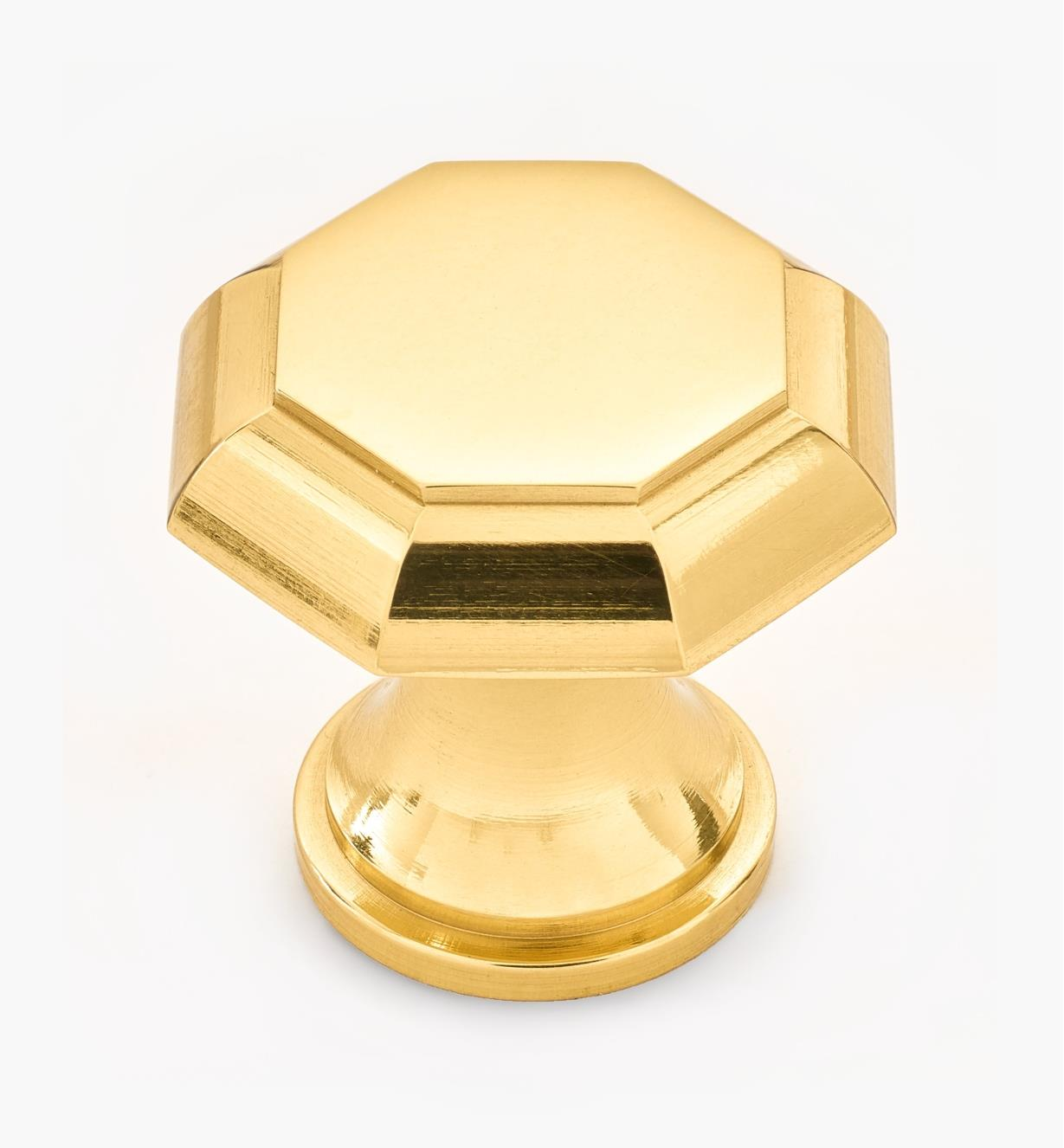 "01W1437 - 1"" x 1"" Polished Brass Octagonal Knob"