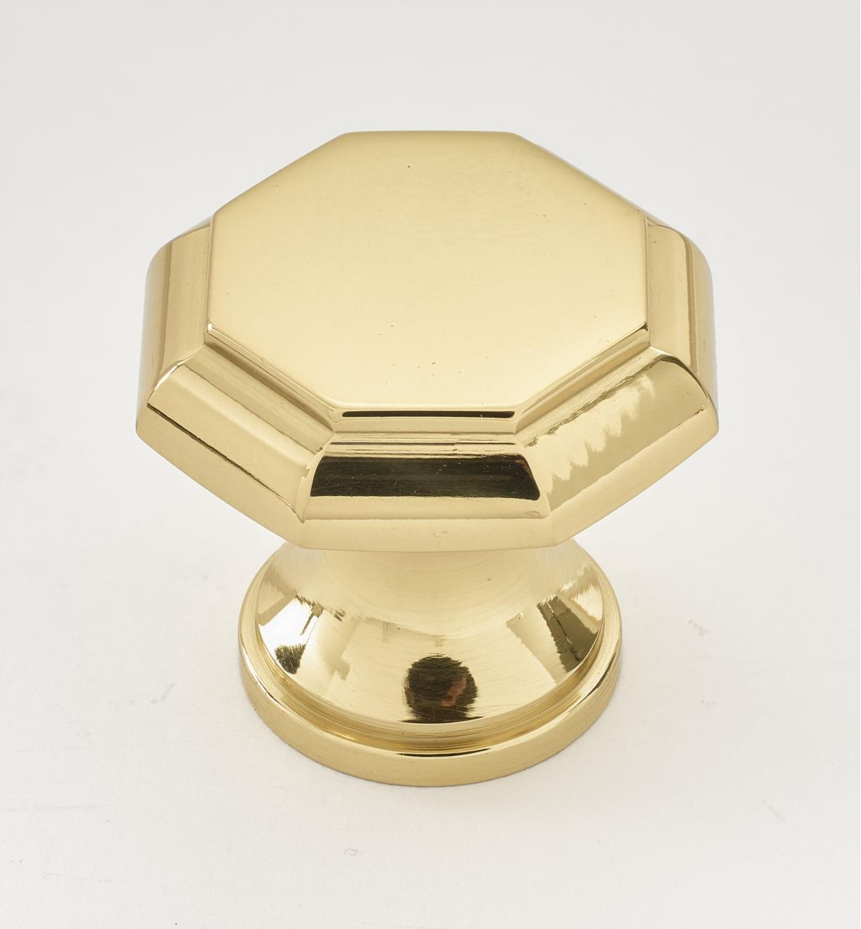 "01W2503 - 1 1/8"" x 1"" Polished Brass Octagonal Knob"