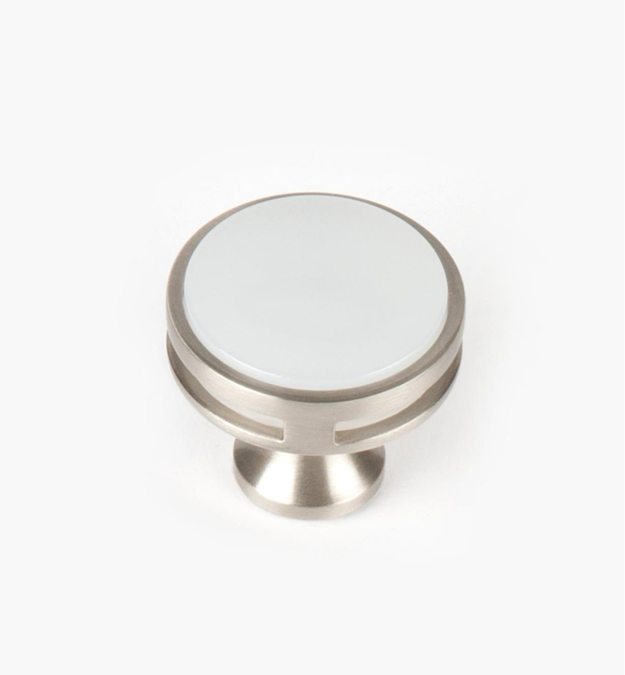 "02A1464 - Oberon Satin Nickel / Acrylic 1 3/8"" Knob, each"