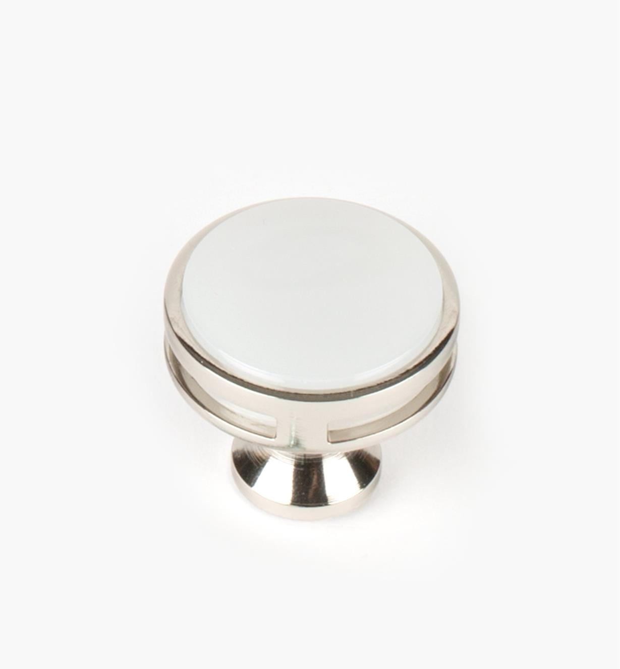 "02A1468 - Oberon Polished Nickel / Acrylic 1 3/8"" Knob, each"