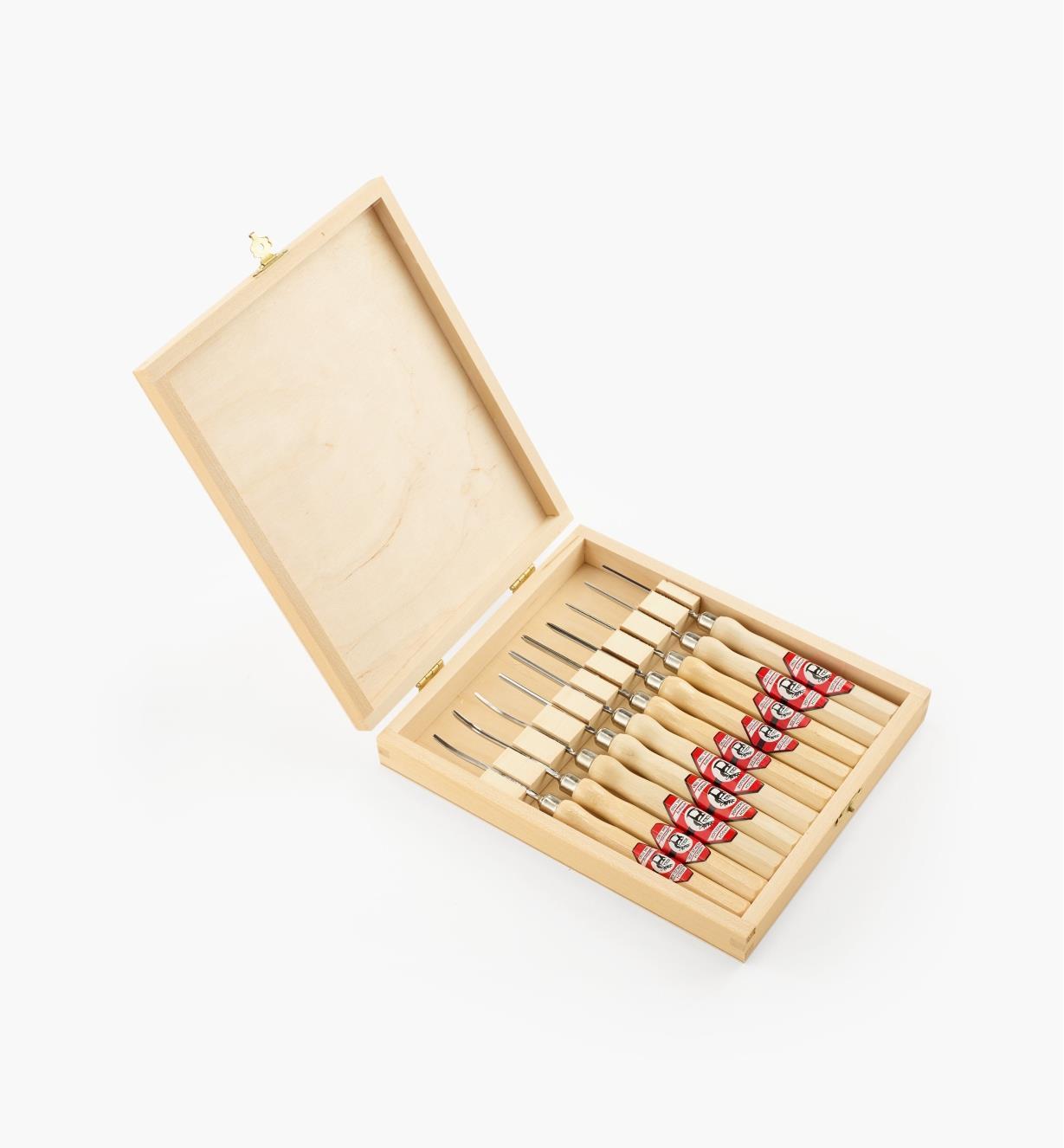 61S0020 - Outils de sculpture miniatures avec coffret, l'ensemble de 10