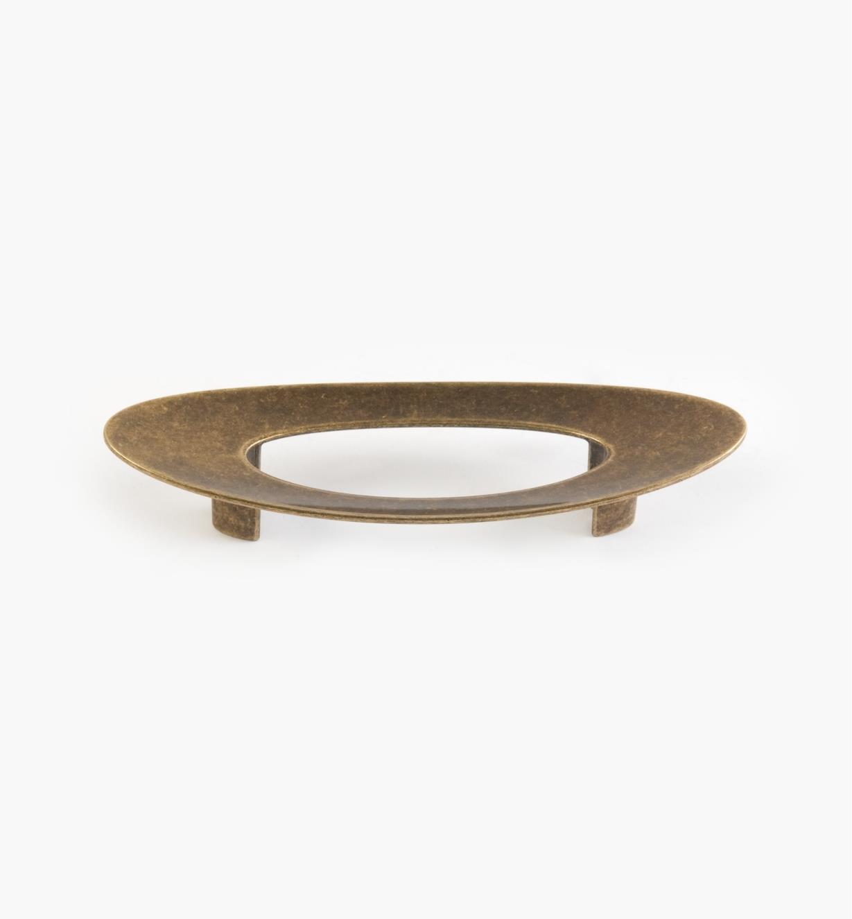 01G1654 - 96mm x 30mm Antique Brass Oval Ventana Pull