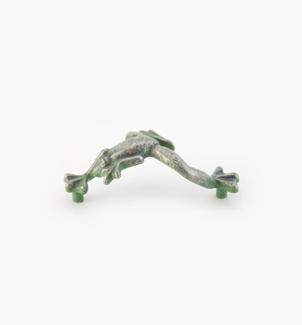 "03W2817 - Whimsical 3 1/2"" x 1 1/2"" Verde Gris Frog Pull, each"