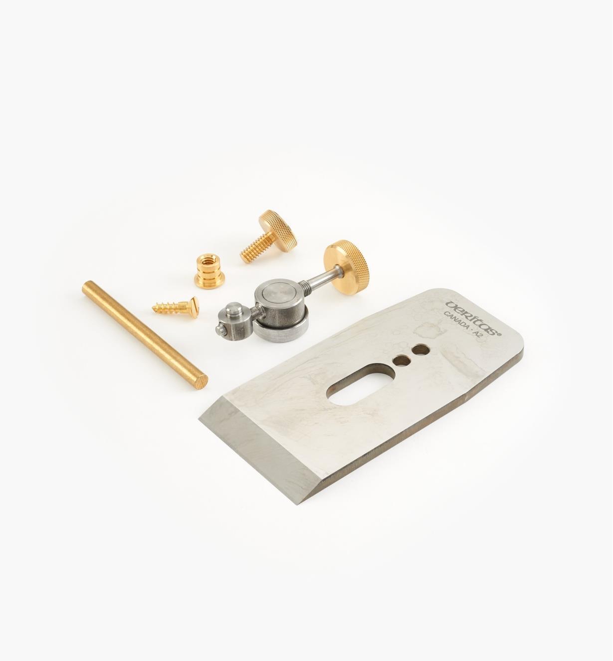 """05P4061 - Veritas 2 1/4"""" Wooden Bench Plane Hardware Kit, A2 Blade"""