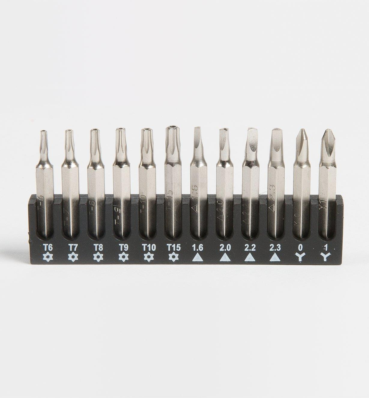 Torx-style tamper-proof, triangle and Phillips bits