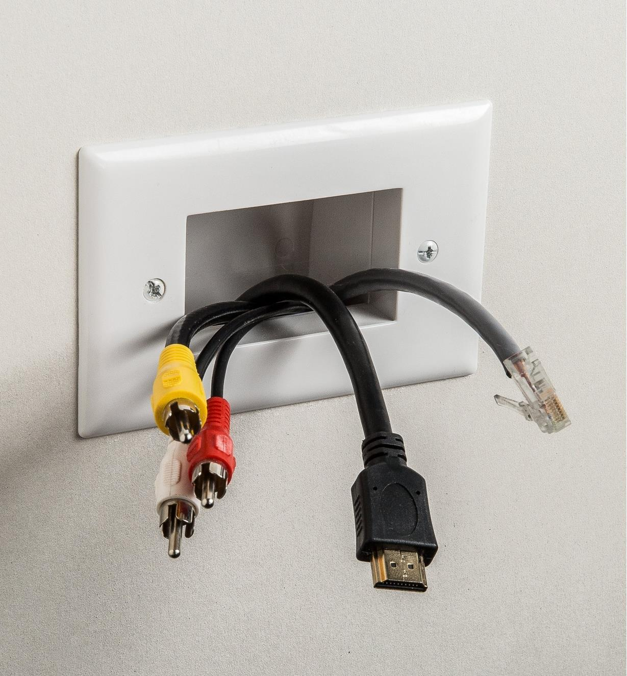 Datacomm Open Port mounted to wall with cords passing through