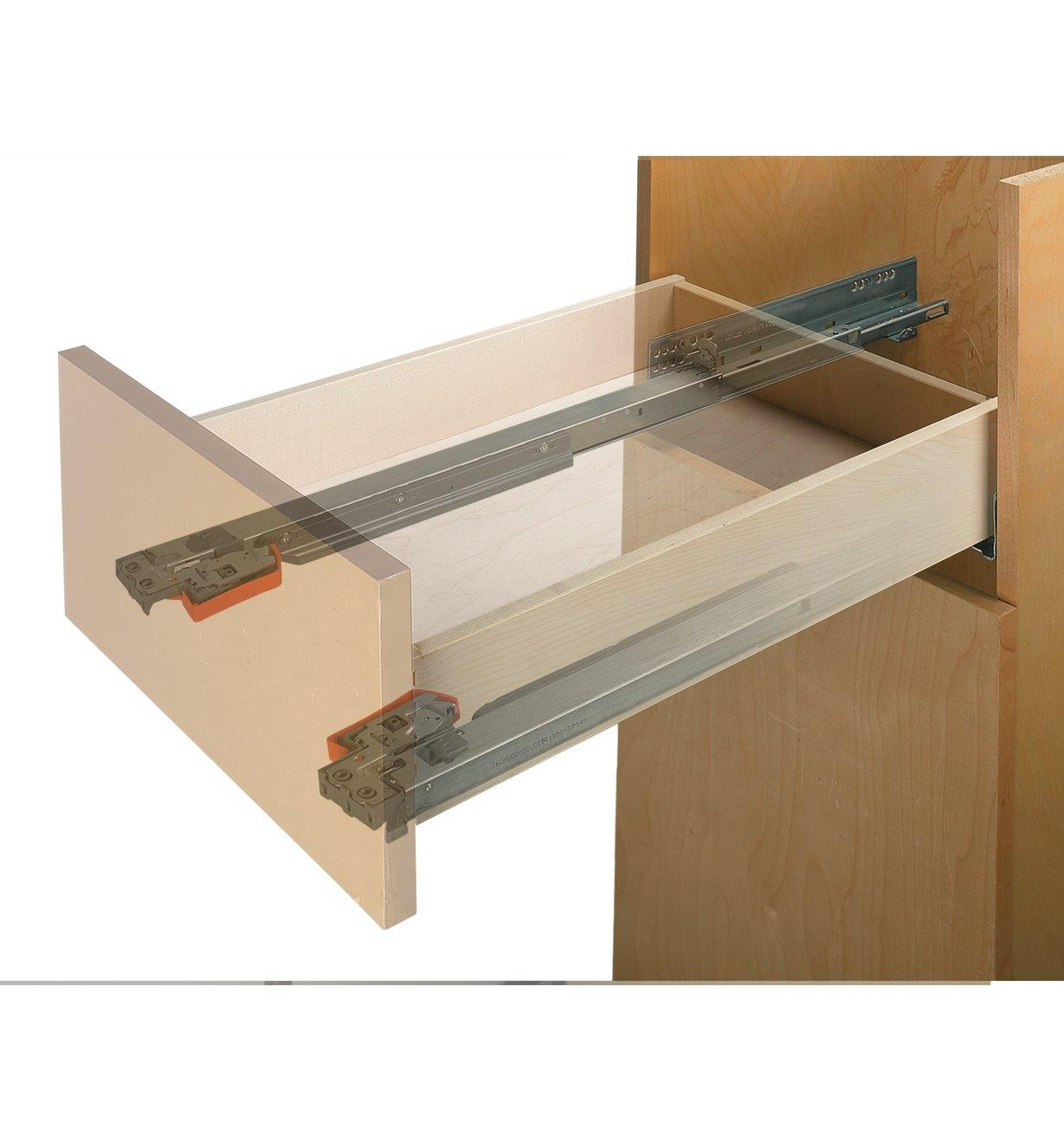 Example of Blum Movento slides installed in a cabinet drawer