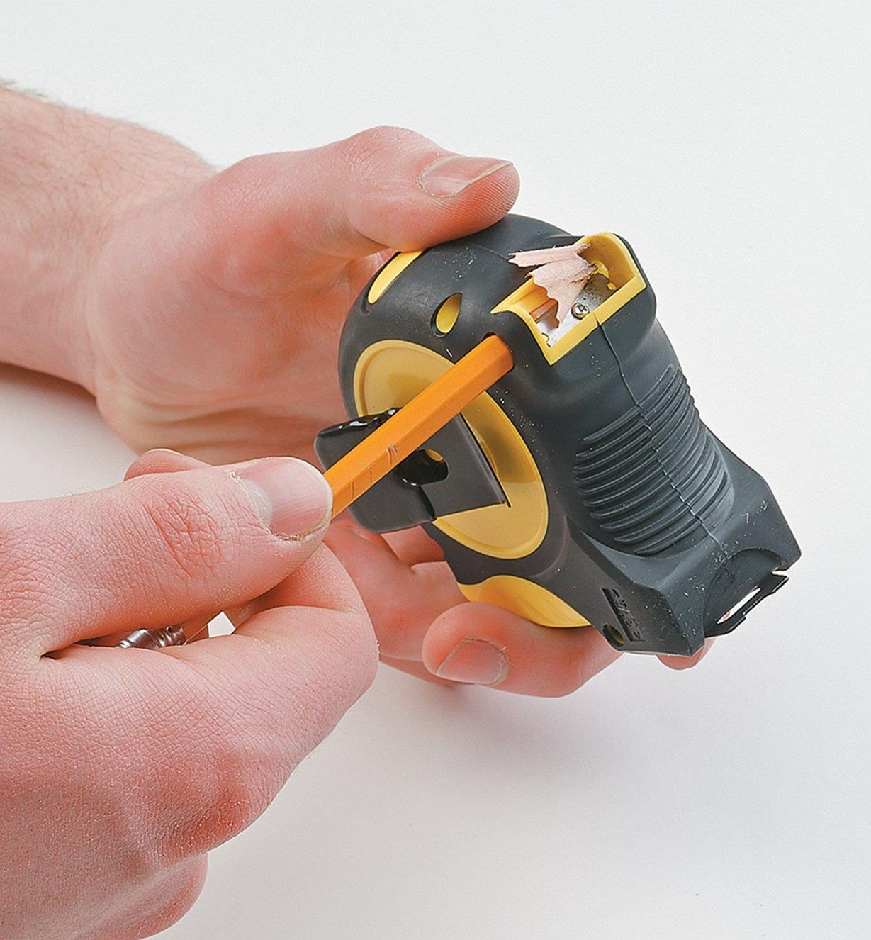 Pencil being sharpened in the built-in pencil sharpener