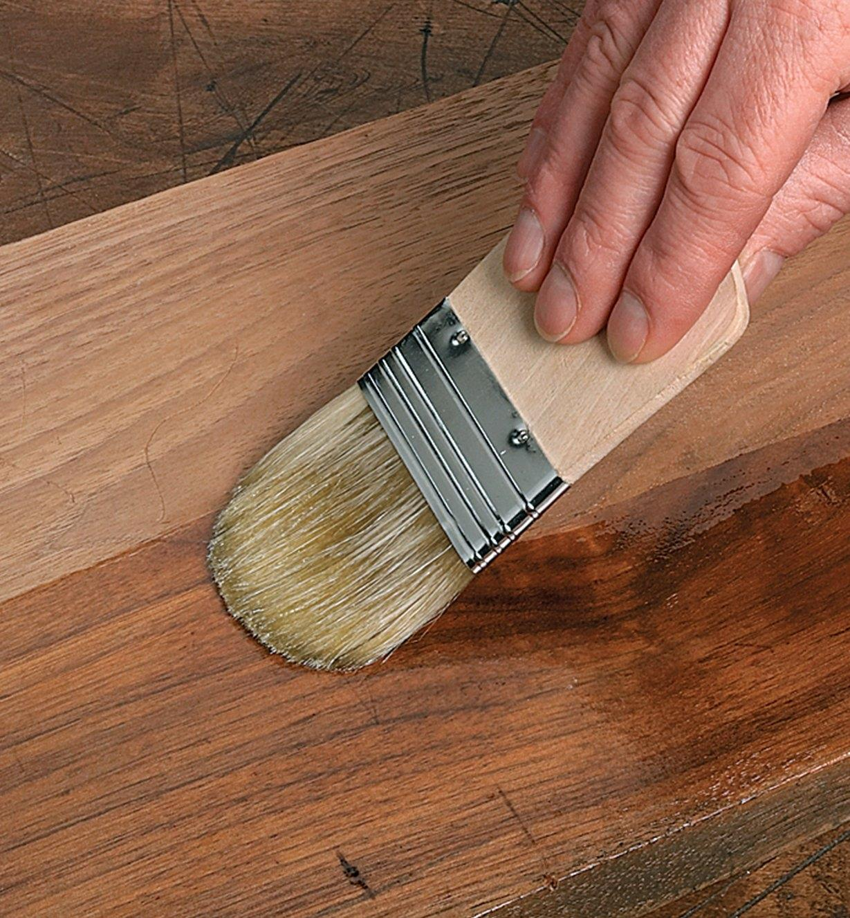 "Applying a finish to wood with a 2 1/4"" Chinese Fan Brush"