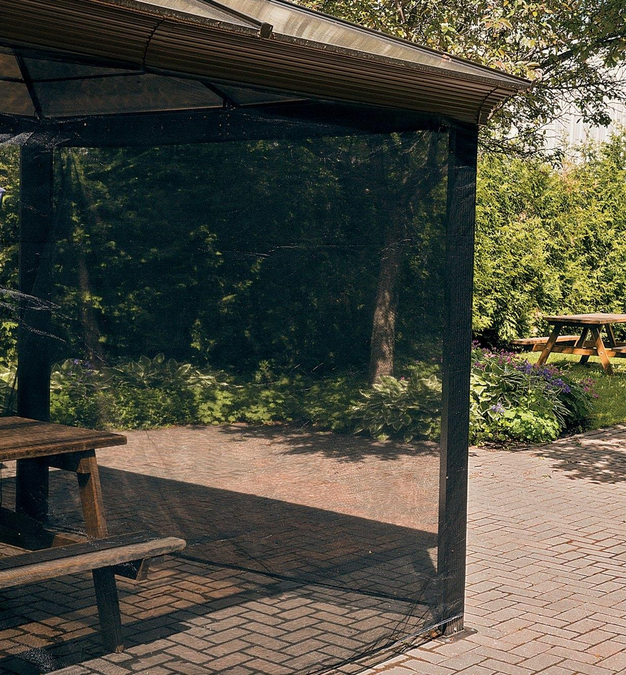 Mosquito Netting used as a screen around a picnic shelter