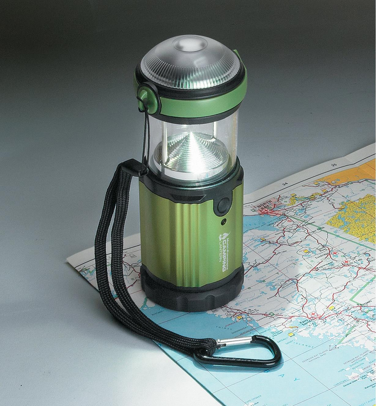 Cree LED Camping Lantern sitting on a map