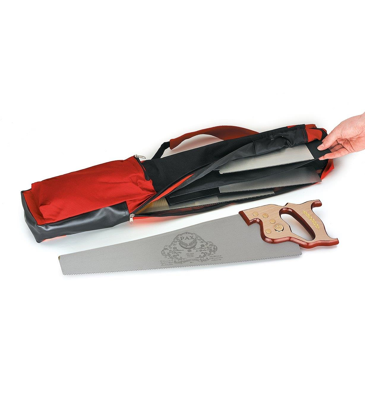 Storing saws inside the Carpenter's Saw Bag