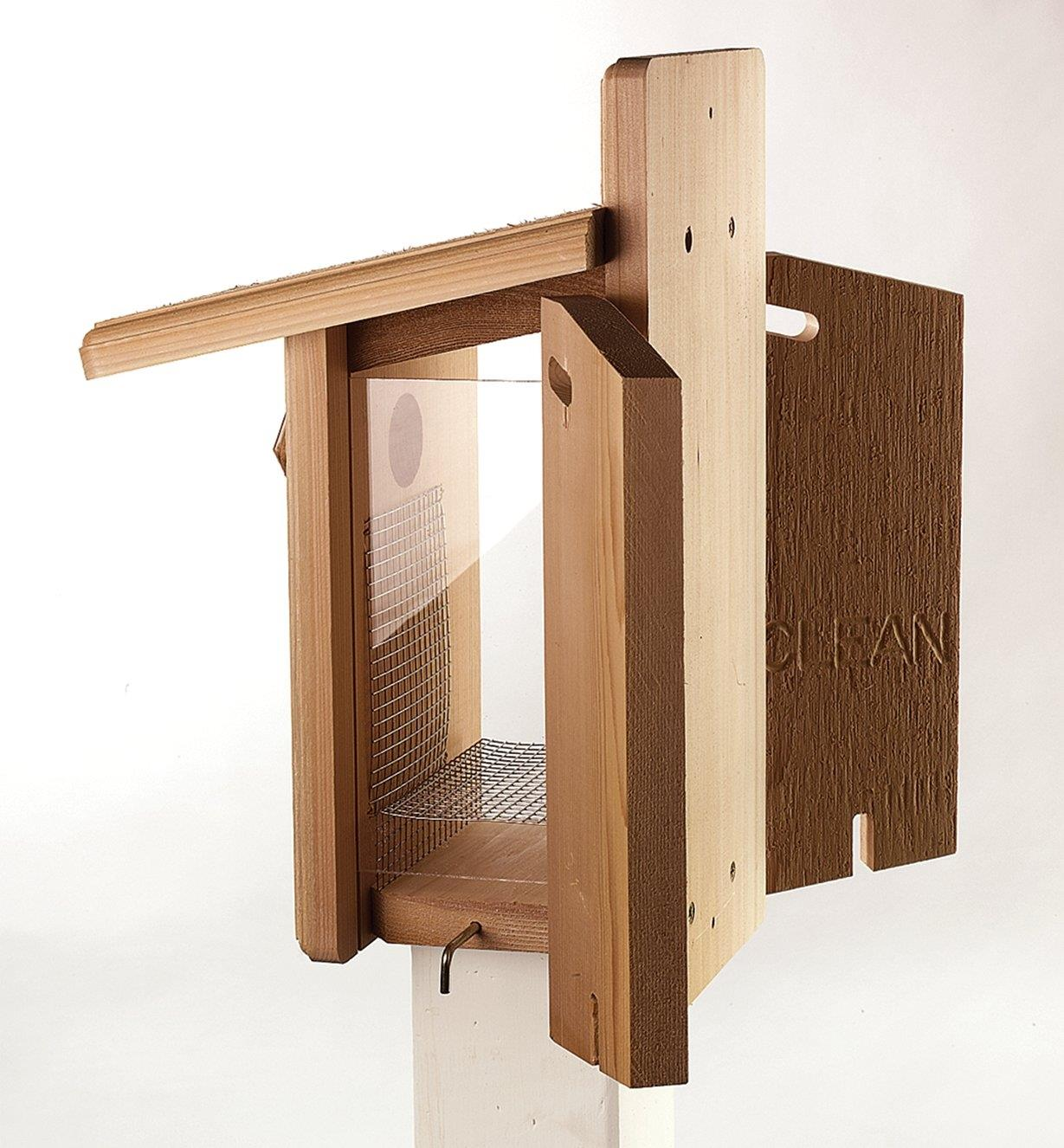 Cedar Bluebird House with side walls open