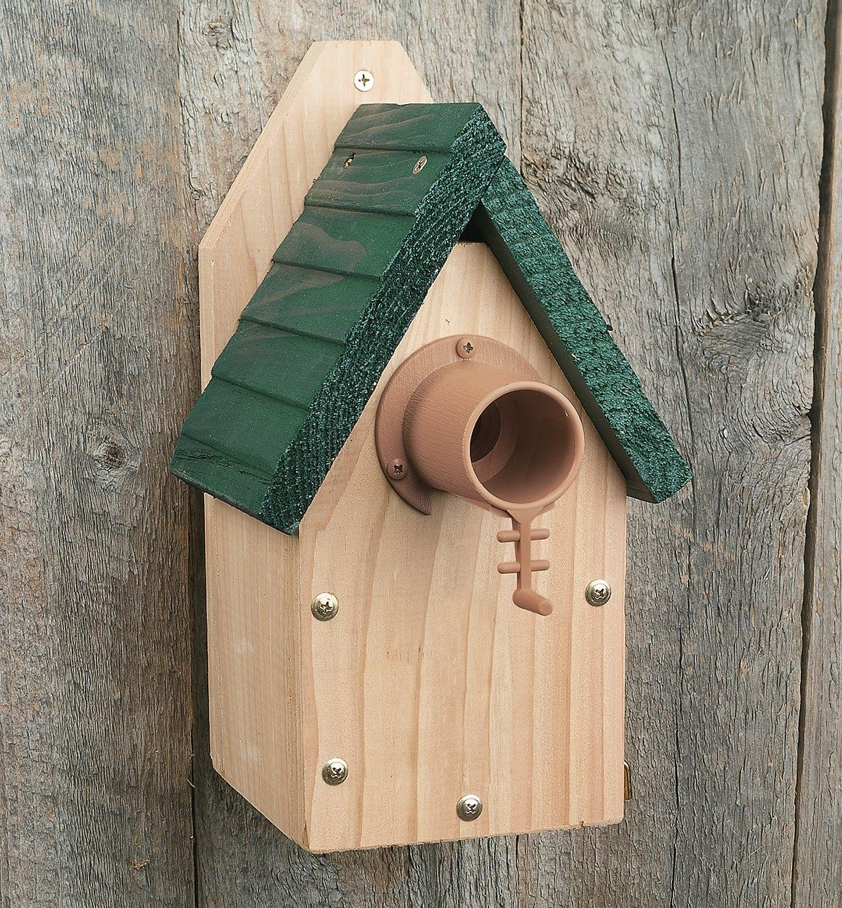Example of Bird Guardian installed on a birdhouse
