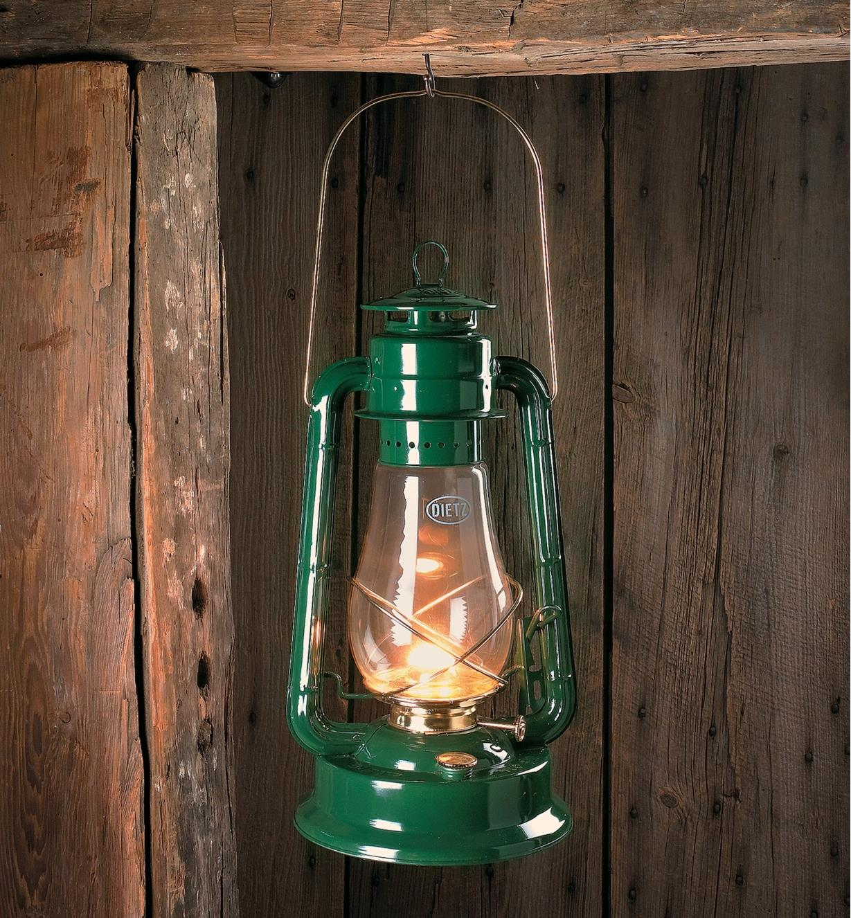 Dietz No. 80 Hurricane Lantern hanging on a hook