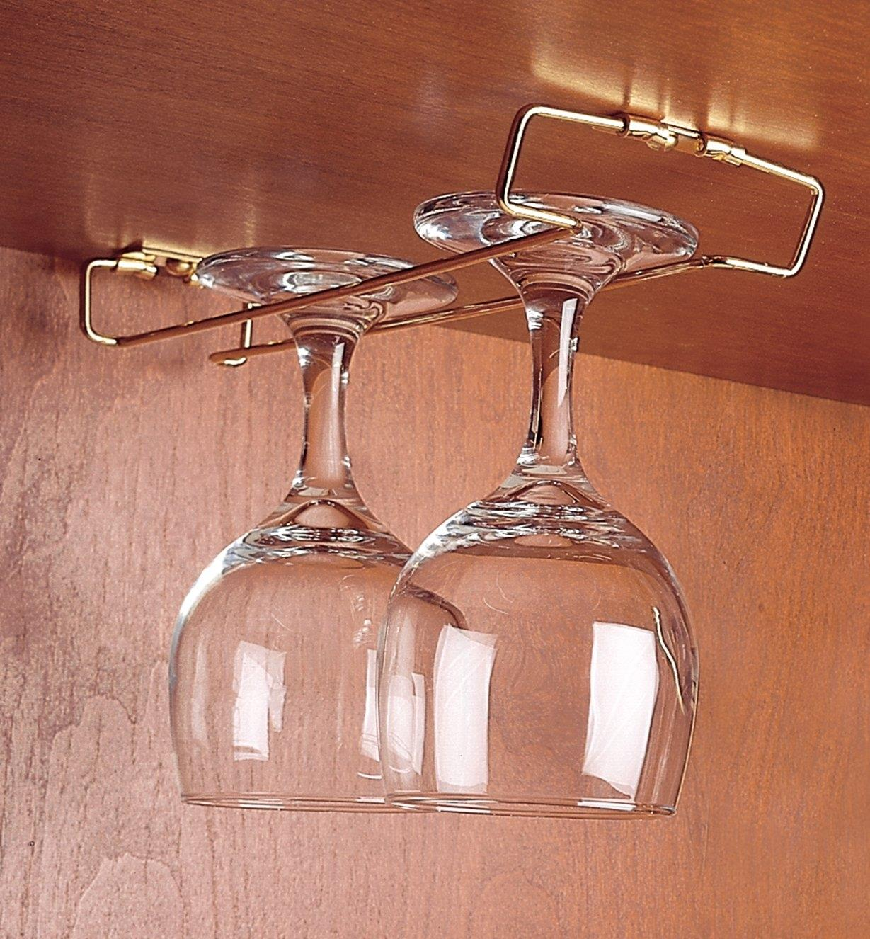 "Wine glasses hanging on an installed 9"" Brass Rack"