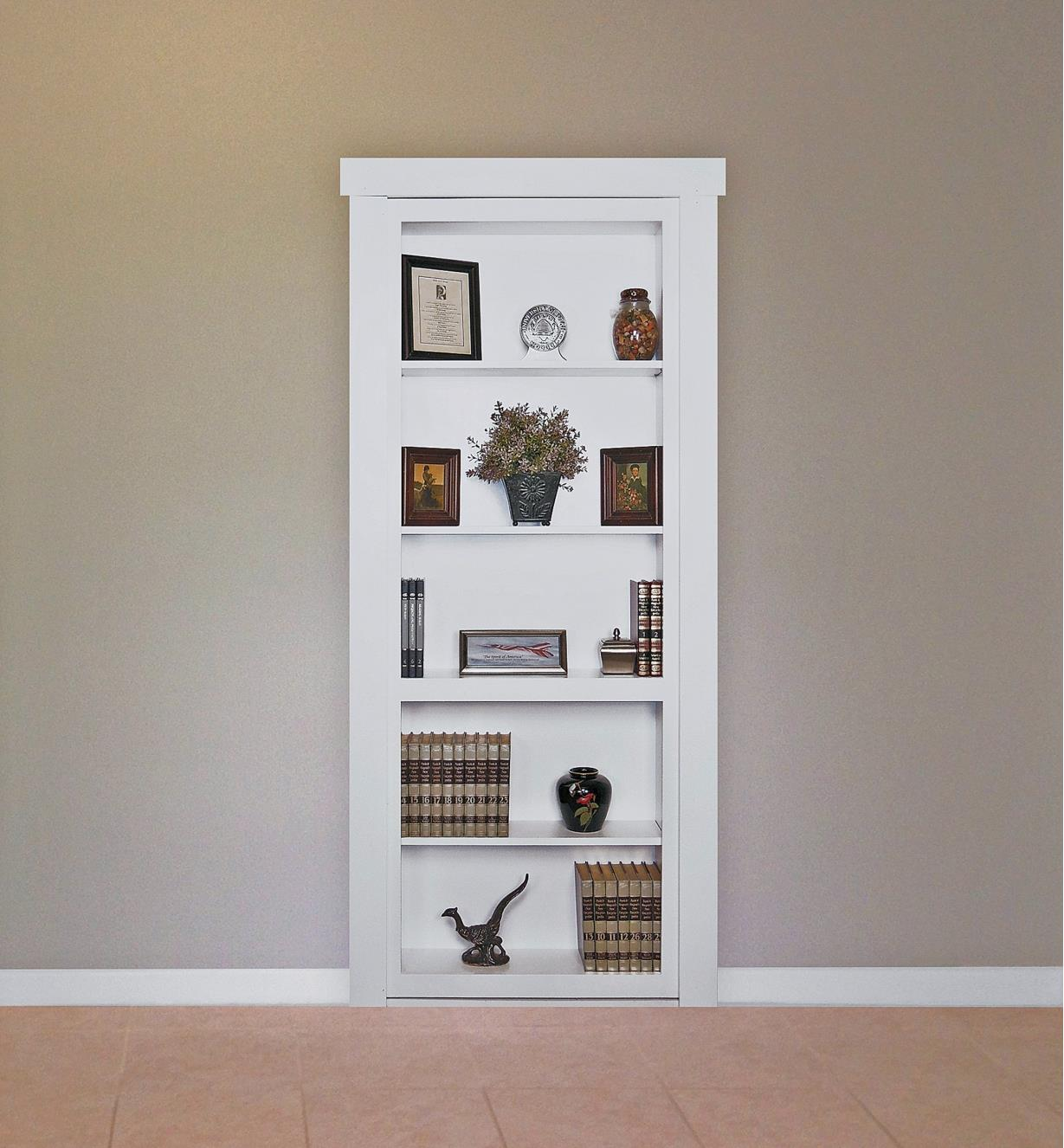 Example of completed bookcase with hidden door closed