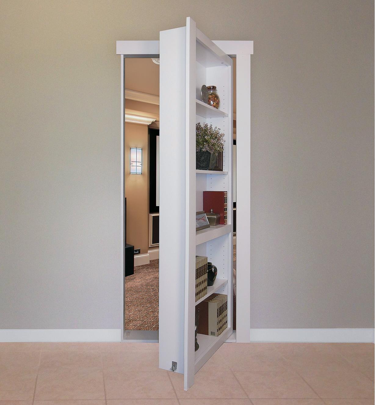 Example of completed bookcase with hidden door open