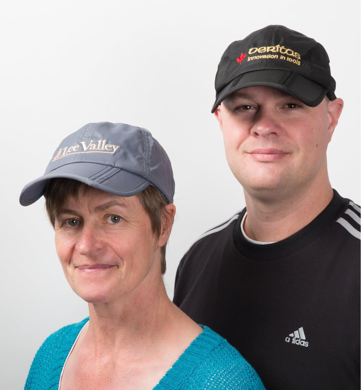 A woman and a man wearing Foldable Caps