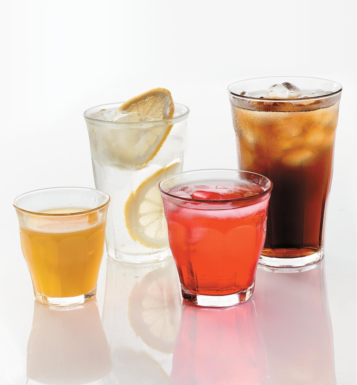 One of each size of Duralex Picardie Glasses filled with different beverages