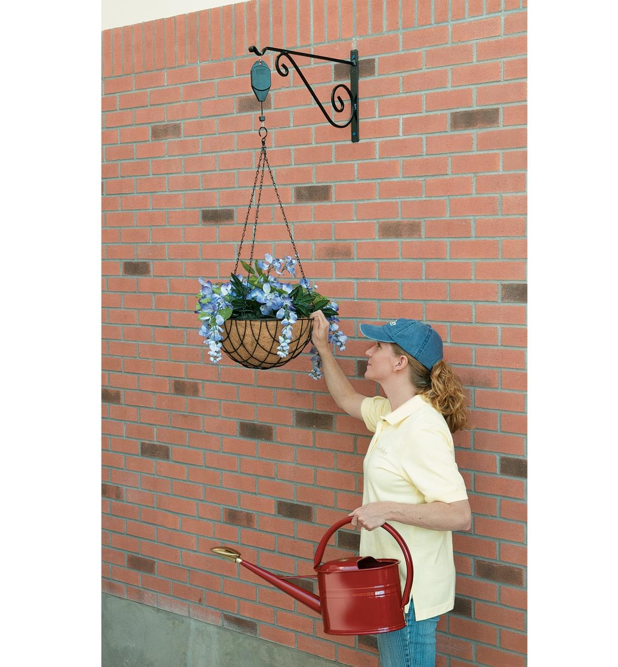 Planter basket raised on the Hanging Basket Pulley
