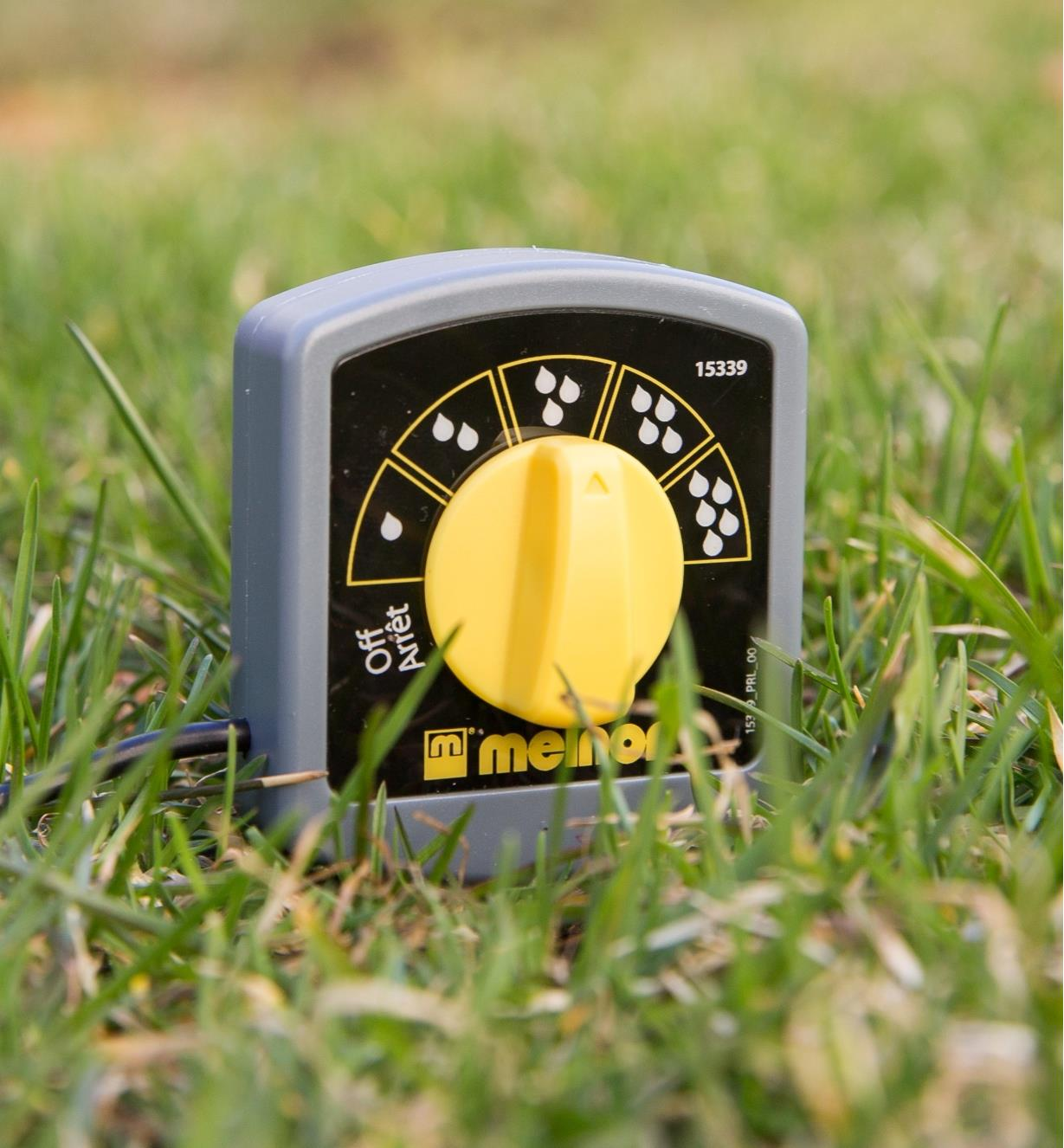 Electronic Water Timer Moisture Sensor inserted in a lawn