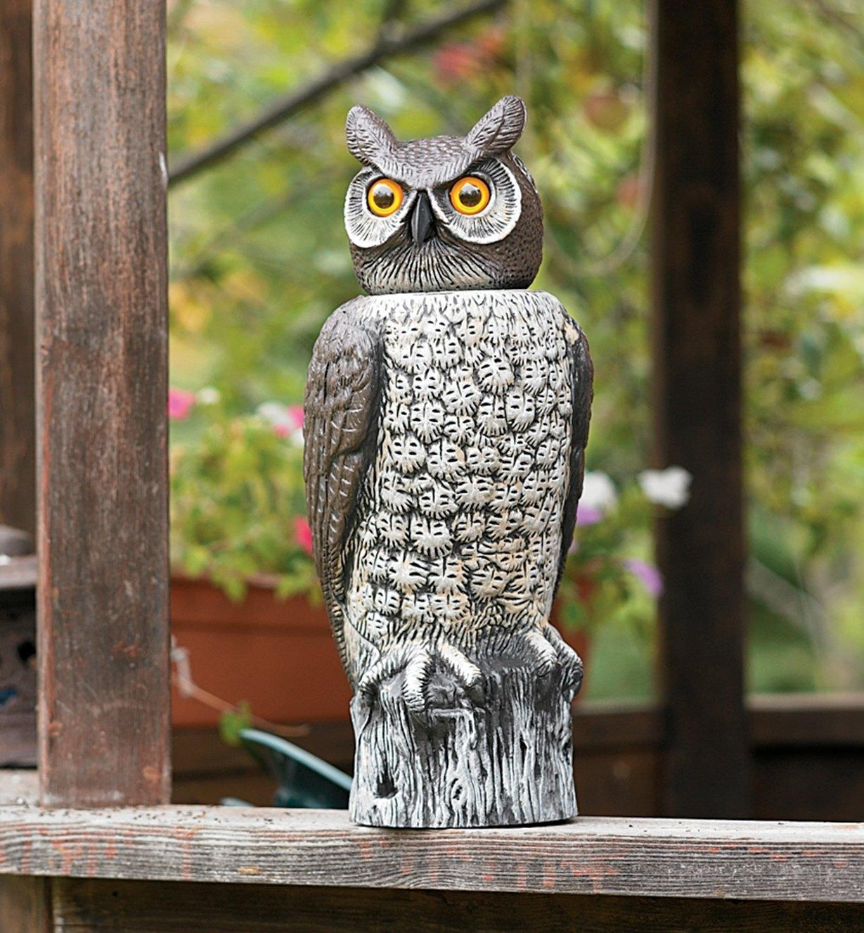 Garden Scare Owl placed on a railing