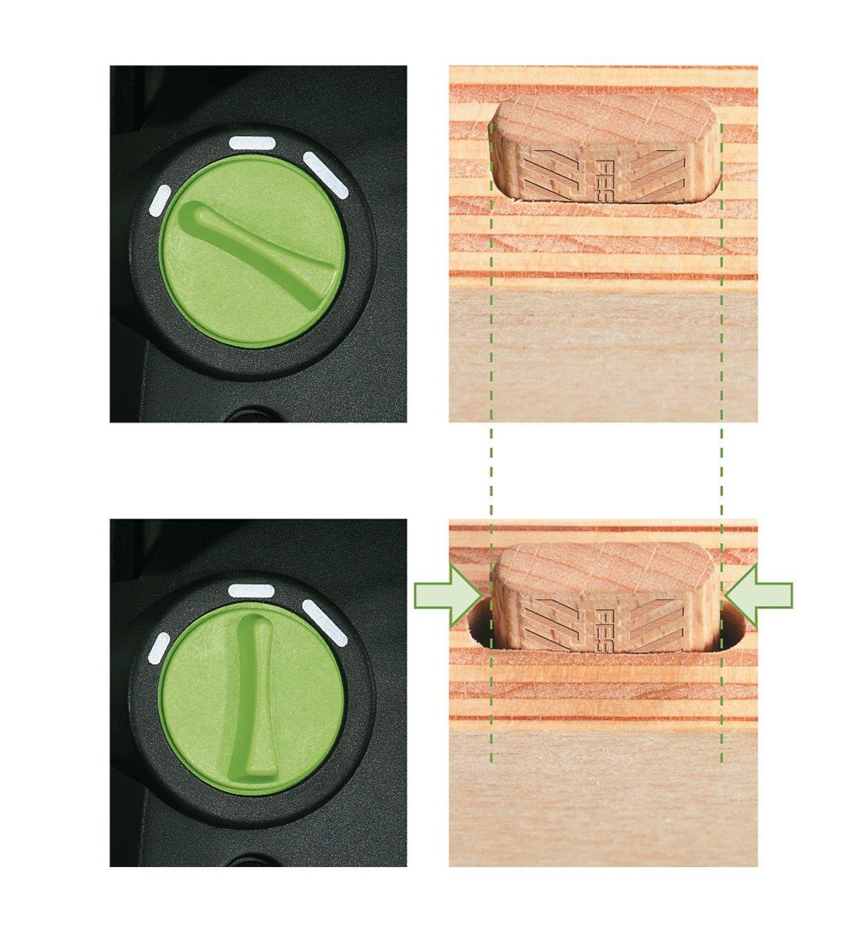 Molette de réglage montrée à deux positions différentes avec deux mortaises de largeurs différentes