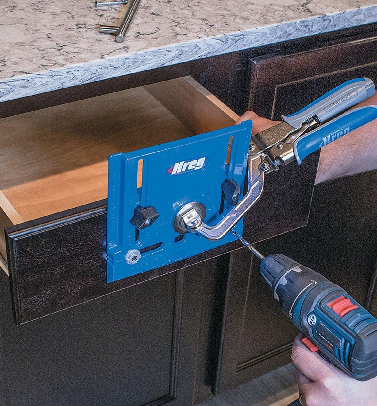 Kreg Hardware Jig used with clamp to drill hole for drawer pull