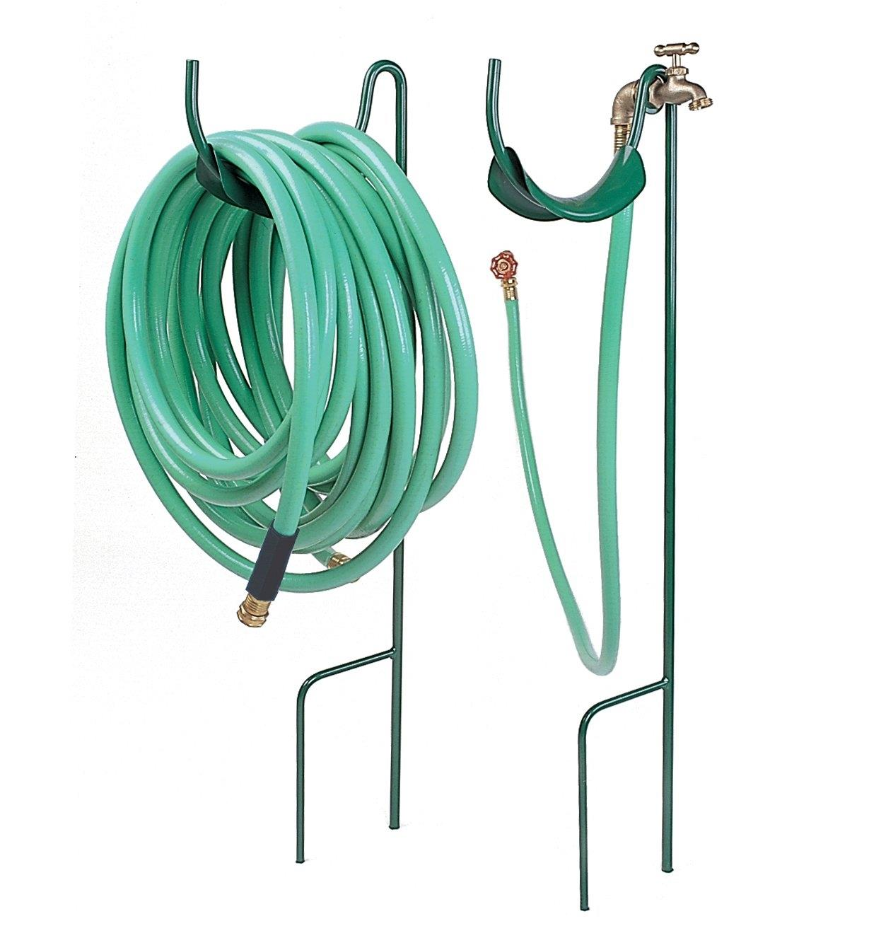 Two Lee Valley Hose Stands, one without a valve holding a 50' hose, and the other with a valve and optional 6' hose
